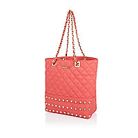 Girls coral stud quilted shopper bag