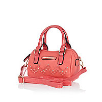 Girls coral studded barrel bag