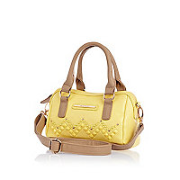 Girls yellow studded barrel bag