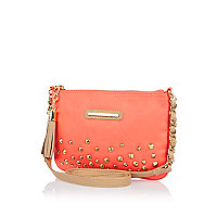 Girls coral studded bag