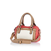 Girls coral colour block barrel bag