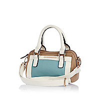 Girls blue colour block barrel bag