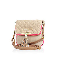 Girls beige quilted fold over bag