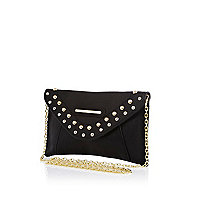 Girls black studded clutch bag