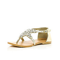 Girls gold diamante star sandals