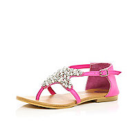 Girls bright pink diamante star sandals