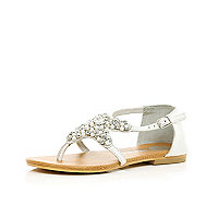 Girls white diamante star sandals