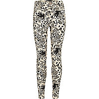 Girls cream aztec print jeggings