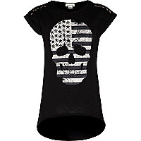 Girls black American skull studded t-shirt