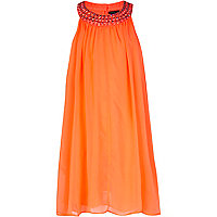 Girls coral babydoll dress