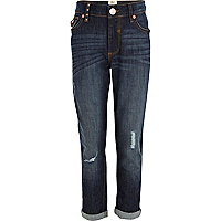 Girls blue dark wash boyfriend jeans