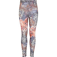 Girls purple floral print denim look leggings