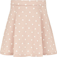Girls pink heart print skater dress
