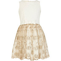 Girls cream mesh lace prom dress