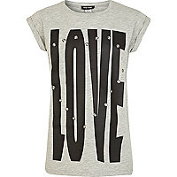 Girls grey Love eyelet t-shirt