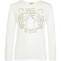 Girls white tiger embellished top