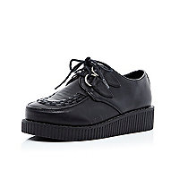 Girls black leather look creepers