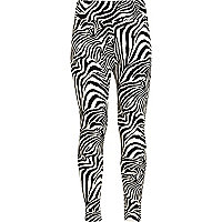 Girls black zebra print leggings