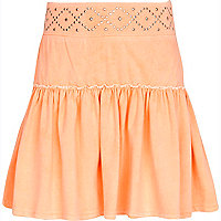 Girls orange studded rara skirt