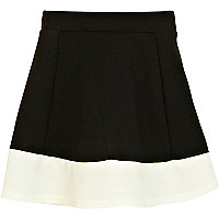 Girls black contrast hem skater skirt
