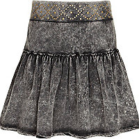 Girls grey studded rara skirt