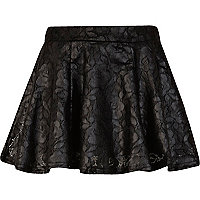 Girls black wet look skater skirt