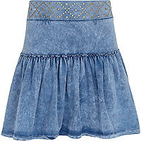 Girls blue denim look studded rara skirt