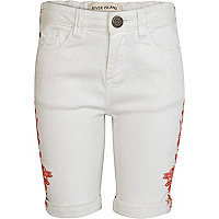 Girls white aztec long denim shorts