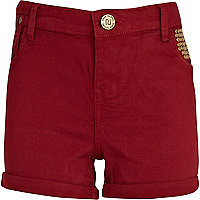 Girls dark red studded shorts