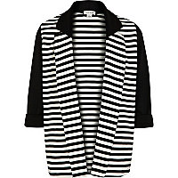 Girls black and white striped blazer