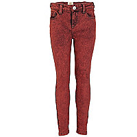 Girls red acid wash jeans