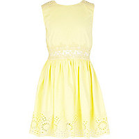 Girls yellow lace cut out sun dress