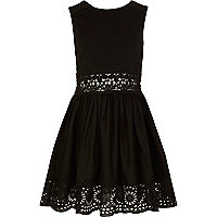 Girls black lace insert sun dress