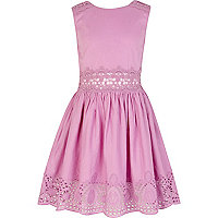 Girls lilac lace insert sun dress