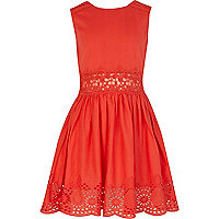 Girls red lace insert sun dress