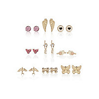 Girls gold tone pretty nine pack earrings