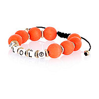 Girls orange LOL beaded bracelet