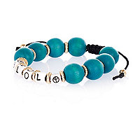 Girls turquoise LOL beaded bracelet