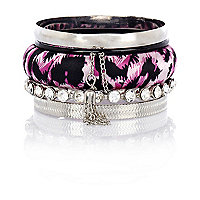 Girls purple leopard print bangle pack