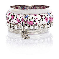 Girls silver tone floral bangle pack