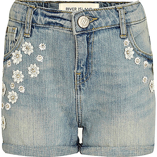 Girls light blue crochet denim shorts