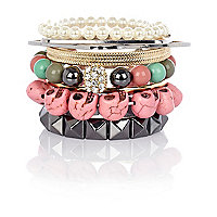 Girls pink skull bangle pack