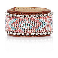 Girls pink beaded cuff