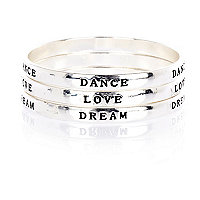 Girls silver tone word bangle pack