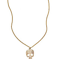 Girls gold tone diamante skull necklace