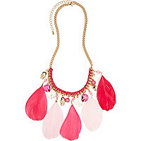 Girls pink feather charm necklace