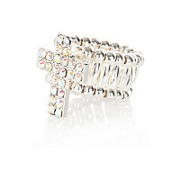 Girls silver tone diamante cross ring