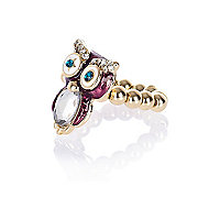 Girls purple diamante owl ring
