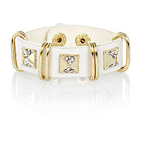 Girls white pyramid studded cuff