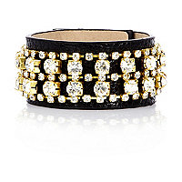 Girls black diamante leather look cuff